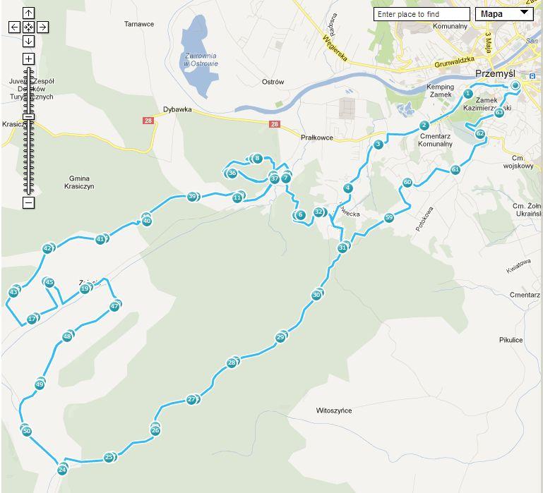 cyklokarpaty przemysl mapa trasa 2013