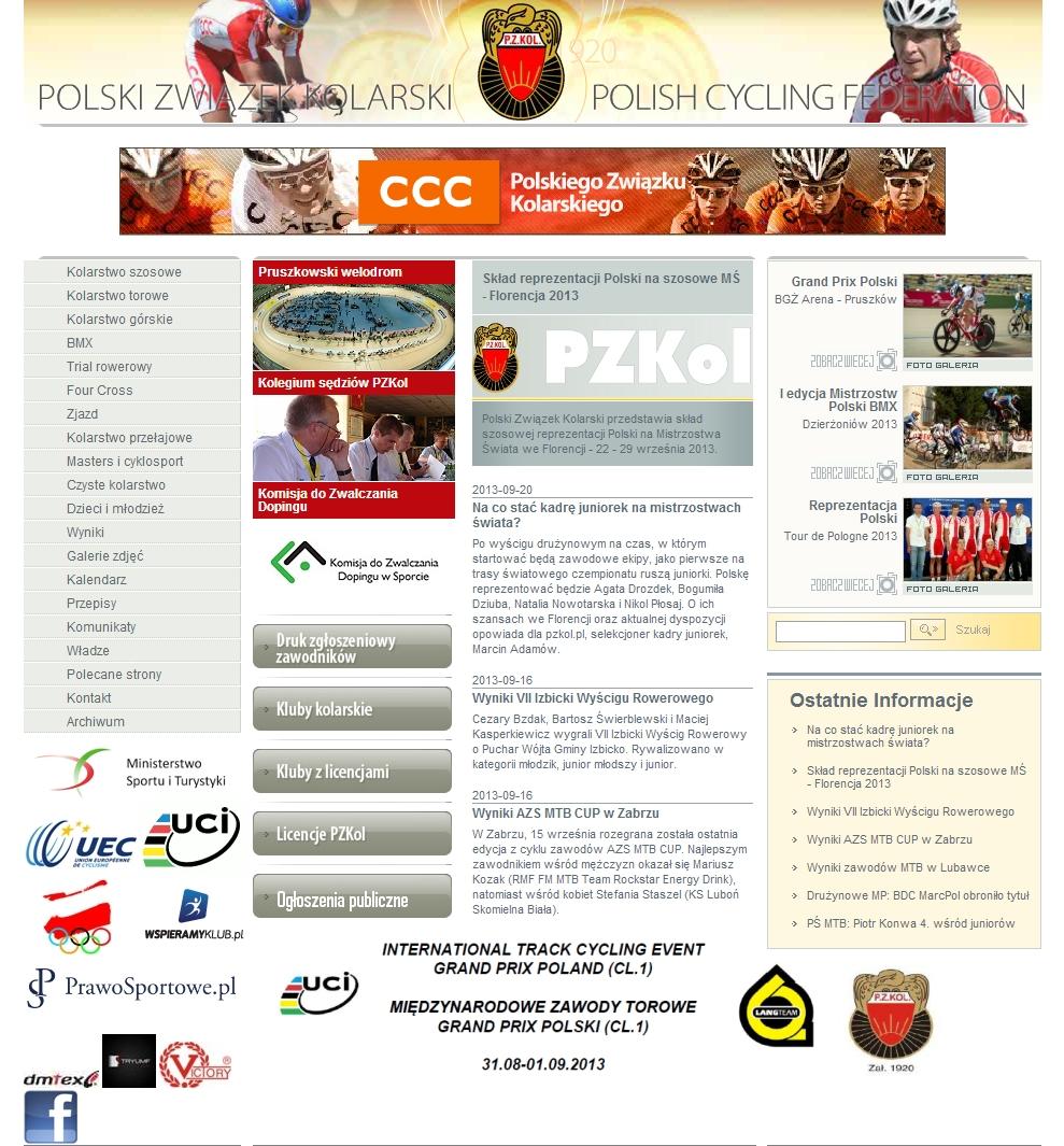 strona internetowa polskiego związku kolarskiego