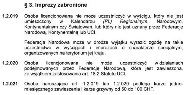 1.2.019 – UCI odracza, PZKol zostawia w mocy