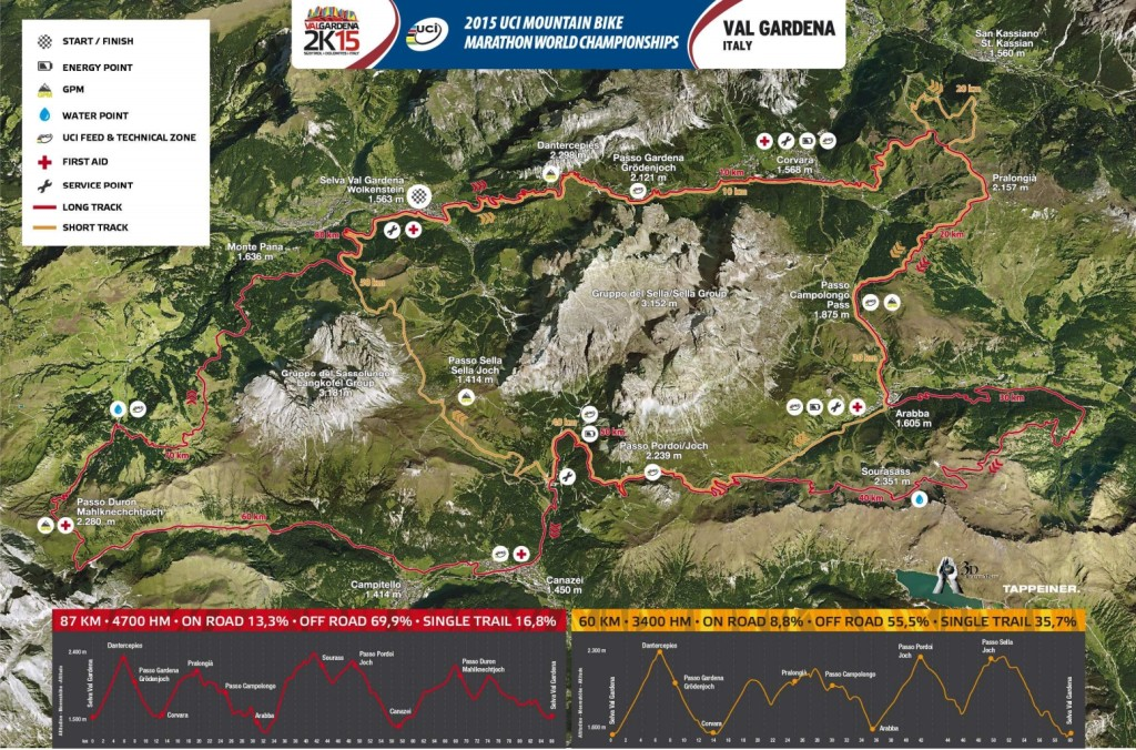 val gardena 2015 uci mountain bike marathon world championships logo map profiles