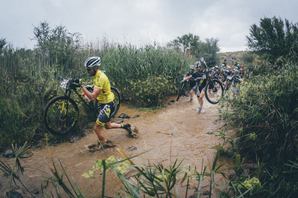{ 00897525} Gert Heyns leads the pack through a river crossing during stage 3 of the 2015 Cape Pioneer Trek between Oudtshoorn and De Rust. http://capepioneer.co.za/ Photo by Ewald Sadie
