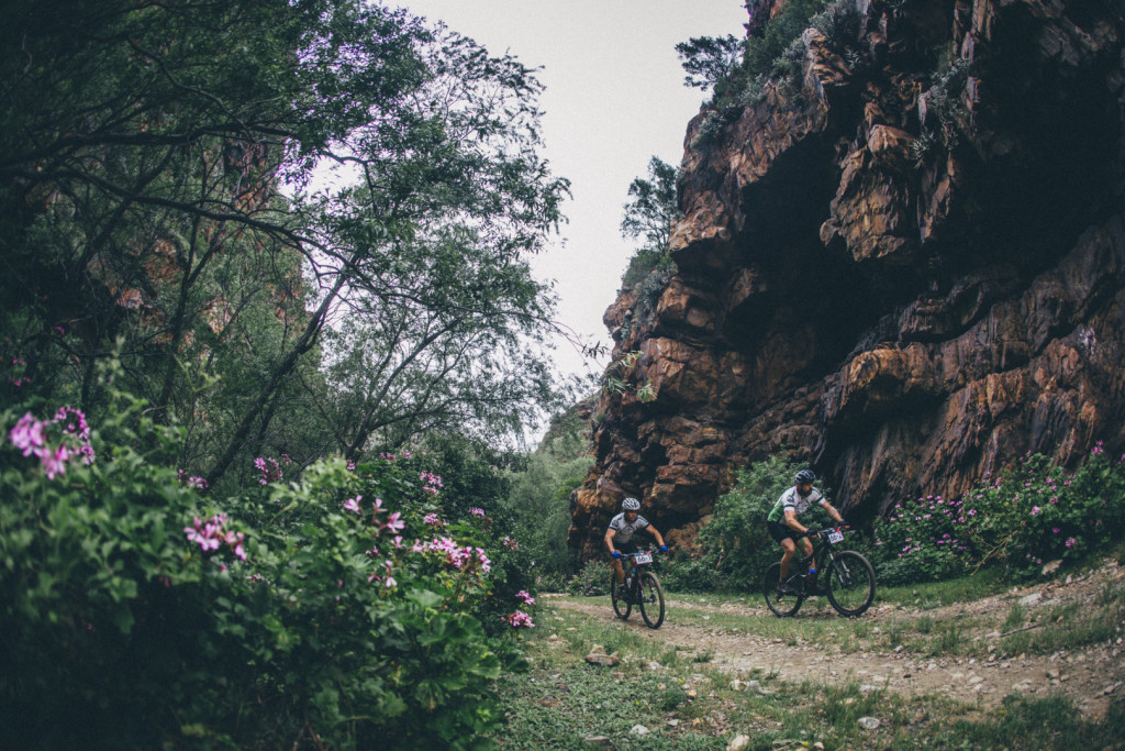 { 00897525} Juan Pearson and Francois Vernooy during stage 3 of the 2015 Cape Pioneer Trek between Oudtshoorn and De Rust. http://capepioneer.co.za/ Photo by Ewald Sadie