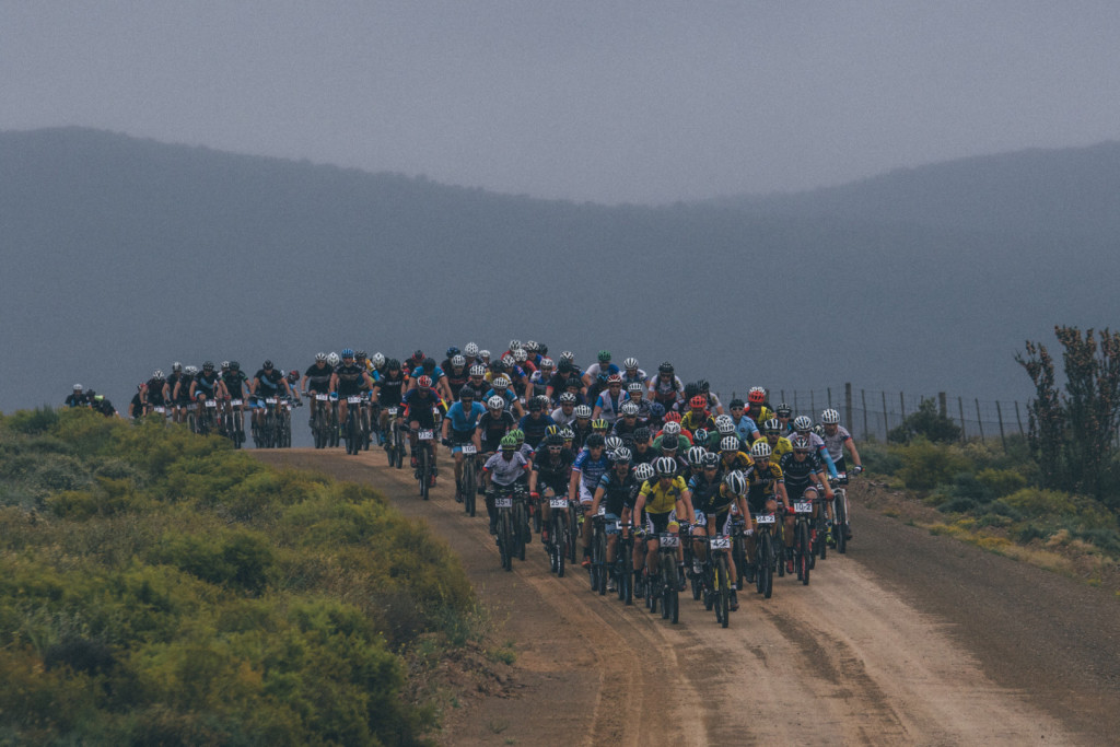 { 00897525} Riders leave Oudtshoorn during stage 3 of the 2015 Cape Pioneer Trek between Oudtshoorn and De Rust. http://capepioneer.co.za/ Photo by Ewald Sadie