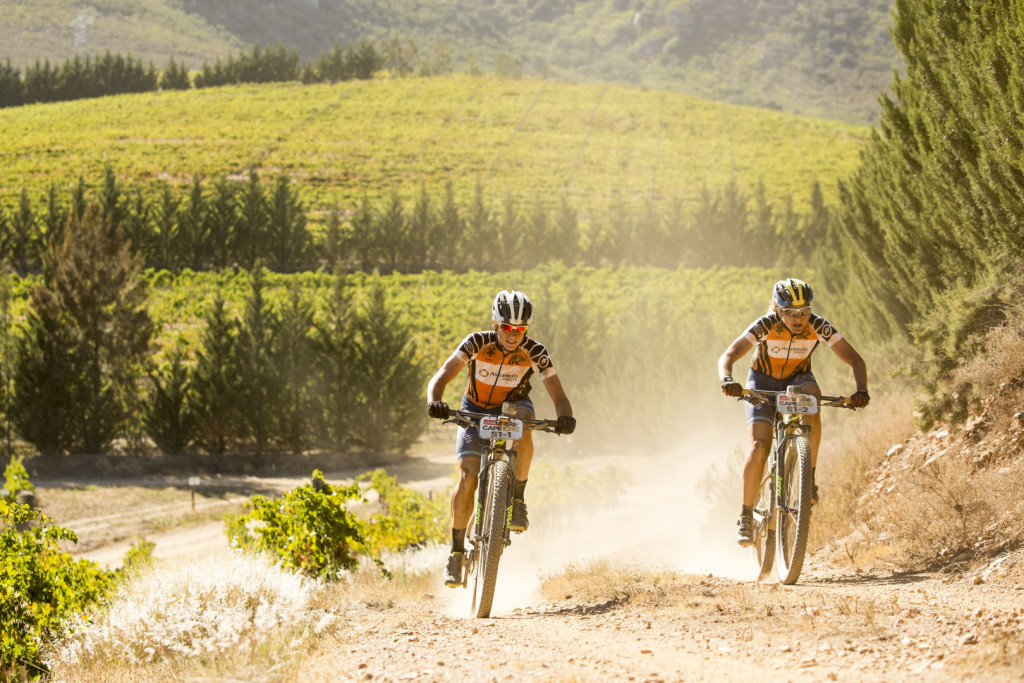 Robyn de Groot (L) and Jennie Stenerhag (R) during stage 1 of the 2016 Absa Cape Epic Mountain Bike stage race held from Saronsberg Wine Estate in Tulbagh, South Africa on the 14th March 2016Photo by Sam Clark/Cape Epic/SPORTZPICSPLEASE ENSURE THE APPROPRIATE CREDIT IS GIVEN TO THE PHOTOGRAPHER AND SPORTZPICS ALONG WITH THE ABSA CAPE EPIC{ace2016}