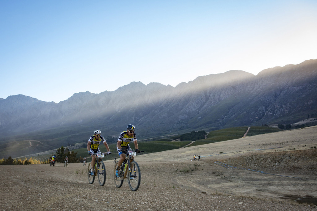 Karl Platt and Urs Huber during stage 1 of the 2016 Absa Cape Epic Mountain Bike stage race held from Saronsberg Wine Estate in Tulbagh, South Africa on the 14th March 2016Photo by Nick Muzik/Cape Epic/SPORTZPICSPLEASE ENSURE THE APPROPRIATE CREDIT IS GIVEN TO THE PHOTOGRAPHER AND SPORTZPICS ALONG WITH THE ABSA CAPE EPIC{ace2016}