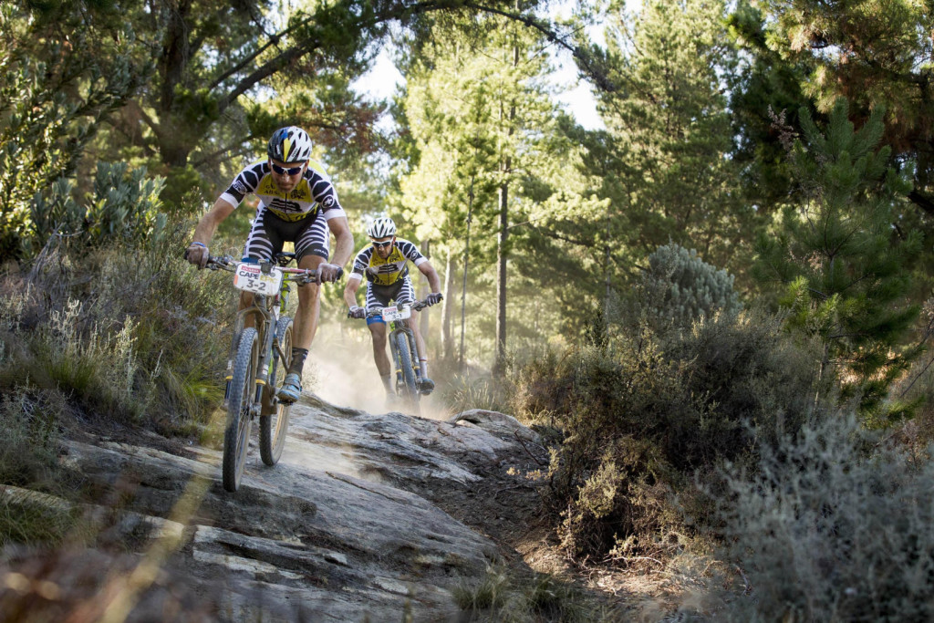 Urs Huber and Karl Platt of Team Bulls 1during stage 2 of the 2016 Absa Cape Epic Mountain Bike stage race from Saronsberg Wine Estate in Tulbagh, South Africa on the 15th March 2016Photo by Nick Muzik/Cape Epic/SPORTZPICSPLEASE ENSURE THE APPROPRIATE CREDIT IS GIVEN TO THE PHOTOGRAPHER AND SPORTZPICS ALONG WITH THE ABSA CAPE EPIC{ace2016}