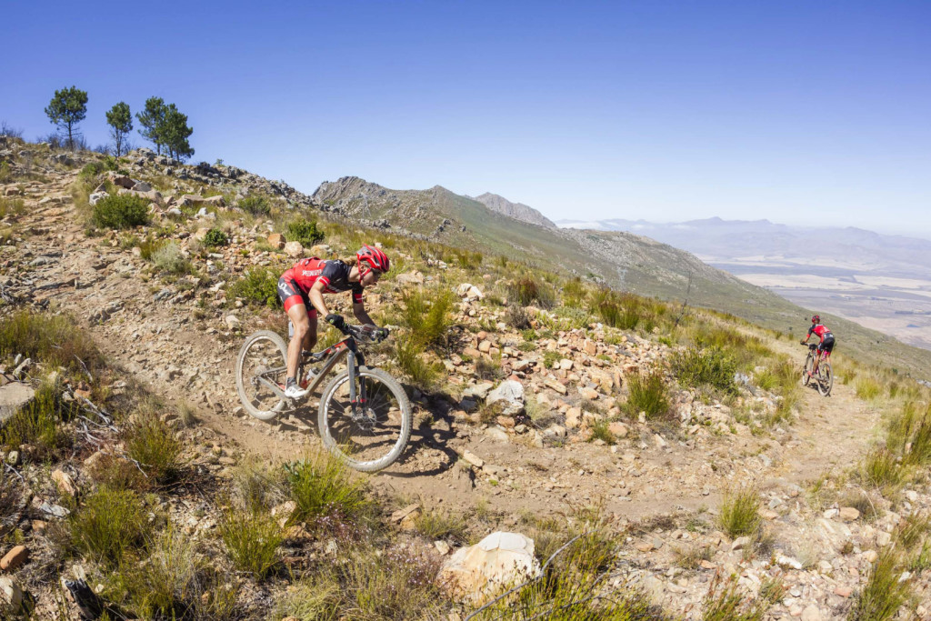Annika Langvad and Ariane Kleinhans make the descent back towards Tulbagh during stage 2 of the 2016 Absa Cape Epic Mountain Bike stage race from Saronsberg Wine Estate in Tulbagh, South Africa on the 15th March 2016Photo by Dominic Barnardt/Cape Epic/SPORTZPICSPLEASE ENSURE THE APPROPRIATE CREDIT IS GIVEN TO THE PHOTOGRAPHER AND SPORTZPICS ALONG WITH THE ABSA CAPE EPIC{ace2016}