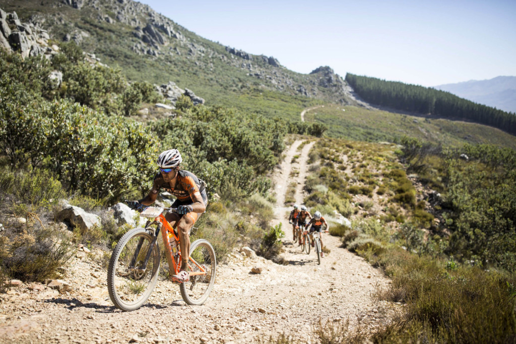 Samuele Porro and Damiano Ferraro of Team Trek-Selle San Marco A and Ivan Alvarez Gutierrez and Fabian Rabensteiner of Team Trek-Selle San Marco B during stage 2 of the 2016 Absa Cape Epic Mountain Bike stage race from Saronsberg Wine Estate in Tulbagh, South Africa on the 15th March 2016Photo by Nick Muzik/Cape Epic/SPORTZPICSPLEASE ENSURE THE APPROPRIATE CREDIT IS GIVEN TO THE PHOTOGRAPHER AND SPORTZPICS ALONG WITH THE ABSA CAPE EPIC{ace2016}