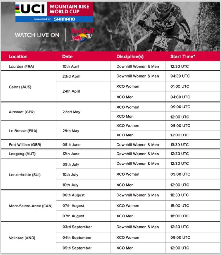 UCI Tour Schedule