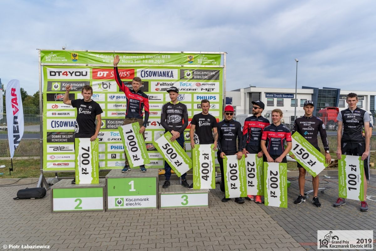 Kaczmarek Electric MTB 2019 Nowa Sól podium elita mężczyzn Mariusz Gil