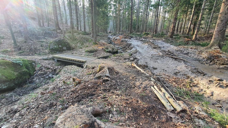 Pasmo Rowerowe Olbrzymy zdewastowane przez ciężki sprzęt leśników